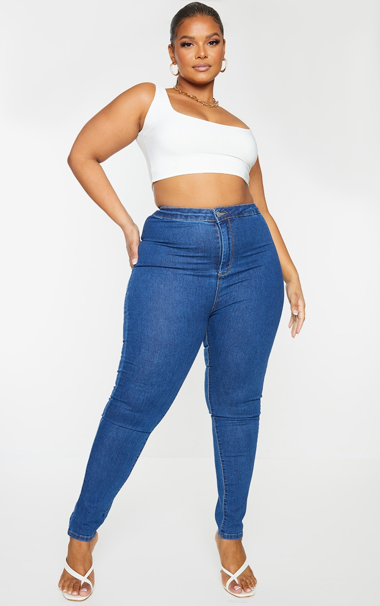 PRETTYLITTLETHING Plus Mid Blue Wash Disco Skinny Jeans 1