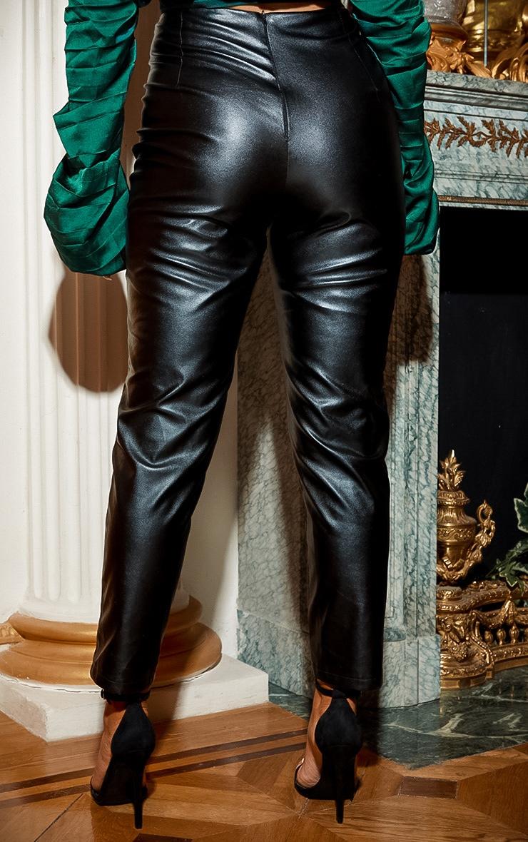 Black Lace Up PU Skinny Pants 4