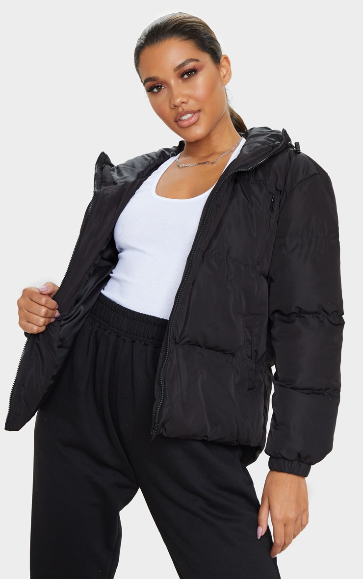 Black Hooded Zip Up Puffer Jacket 1