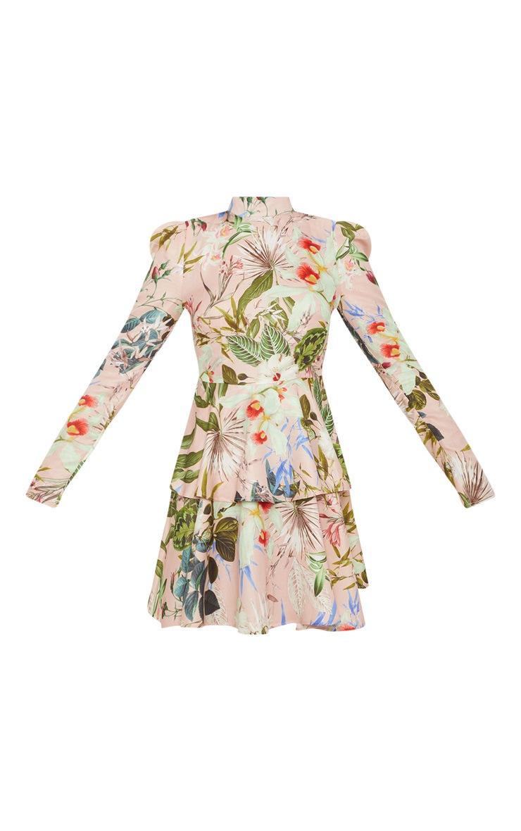 Pale Pink Floral High Neck Tiered Skater Dress 3