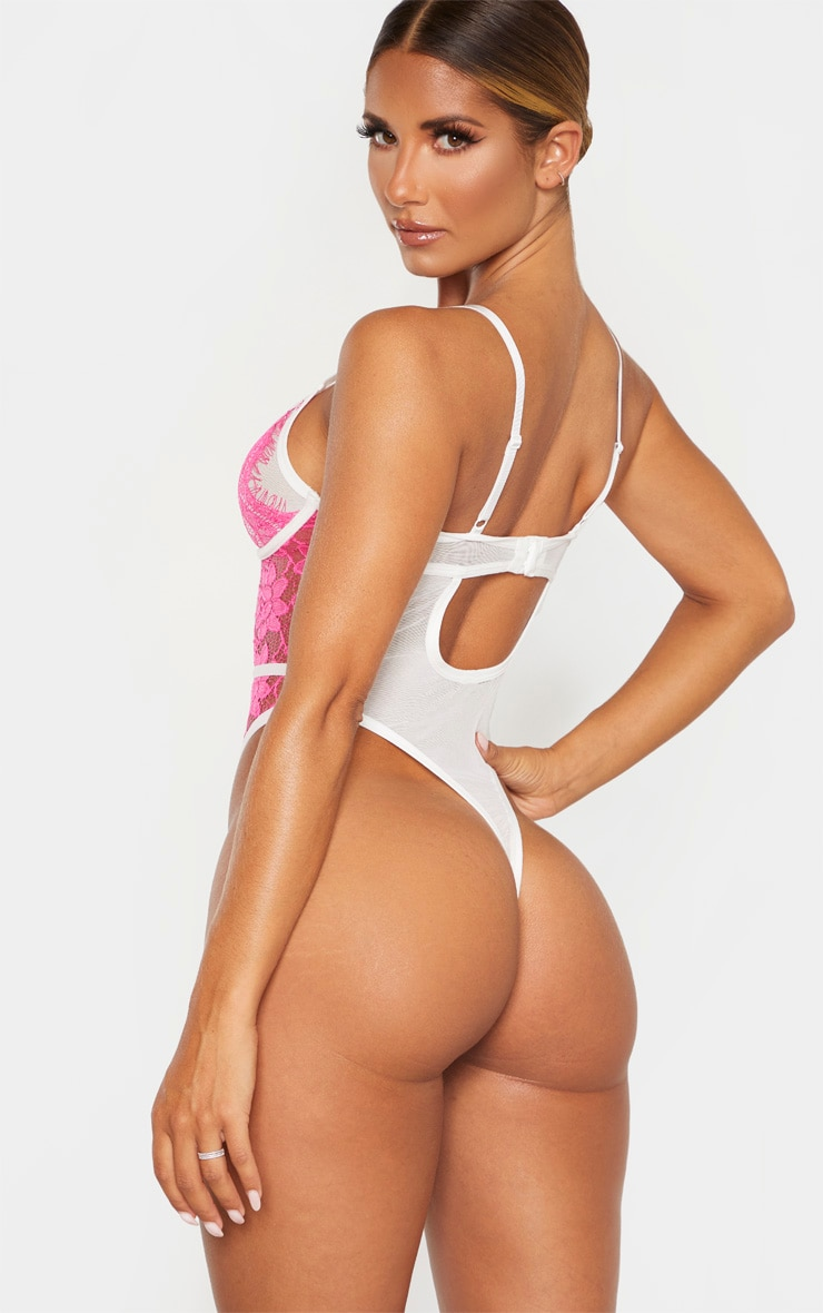 Pink Contrast Lace Underwired Body 2