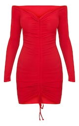 Red Ribbed Long Sleeve Bardot Ruched Bodycon Dress 1