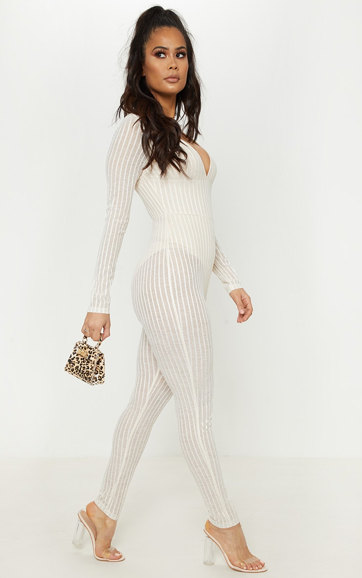 Nude Striped Mesh Sheer Plunge Jumpsuit 4