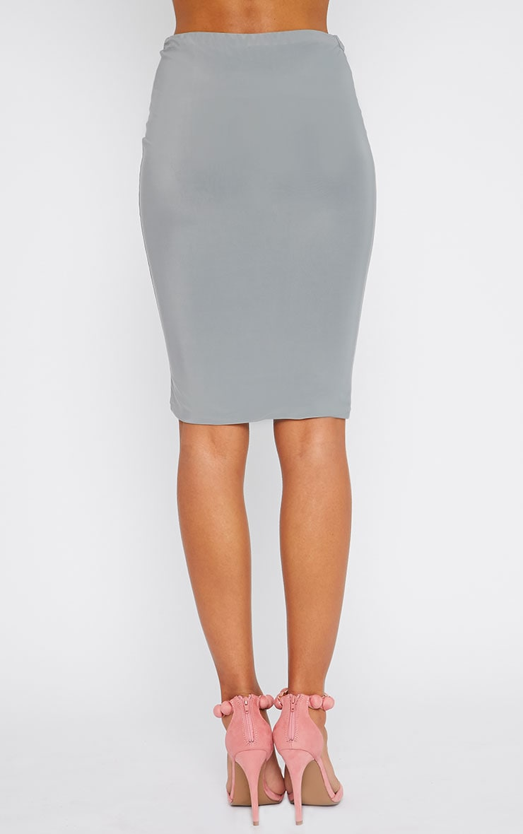 Arabella Grey Slinky Midi Skirt 4