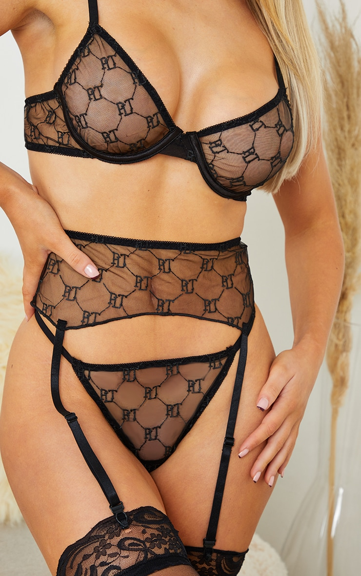 PRETTYLITTLETHING Black Embroidered Mesh Underwired 3 Piece Lingerie Set 4