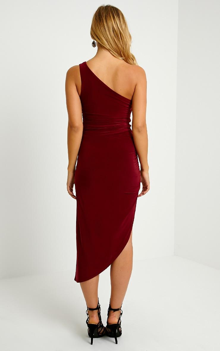 Lourdes Oxblood One Shoulder Side Ruched Dress 2