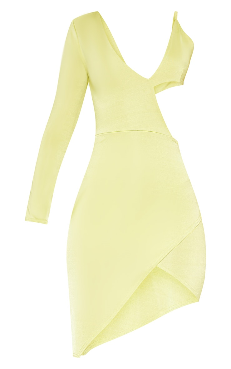 Neon Green Cut Out One Shoulder Bodycon Dress 3