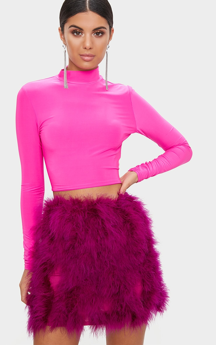 Fuchsia Slinky High Neck Longsleeve Crop Top 1