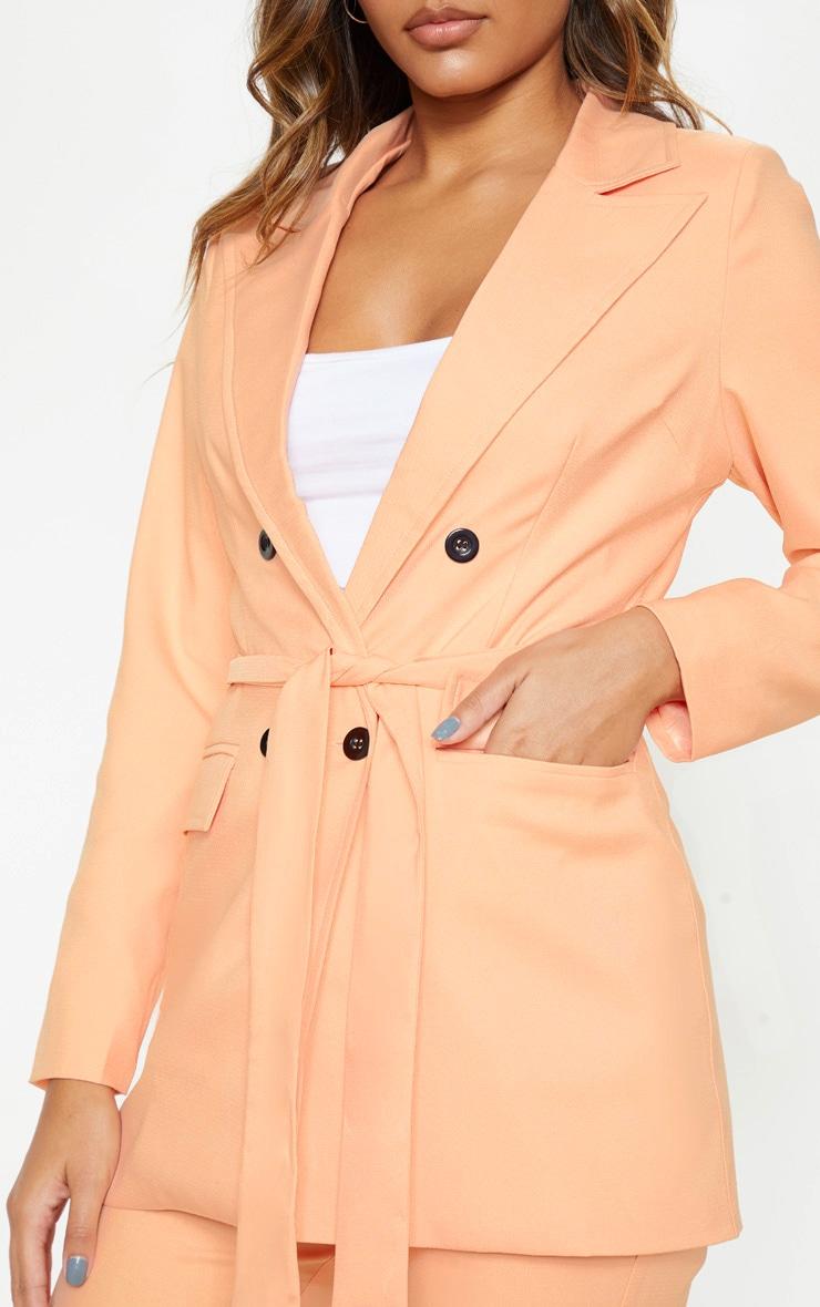 Peach Belted Longline Woven Blazer    5