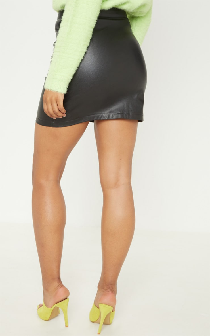 Tall Black Faux Leather Zip Detail Mini Skirt 4