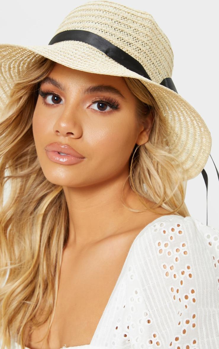Cream Straw Sun Hat 1