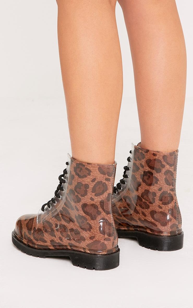 Jaslene Tan Leopard Lace Up Rain Boots 4