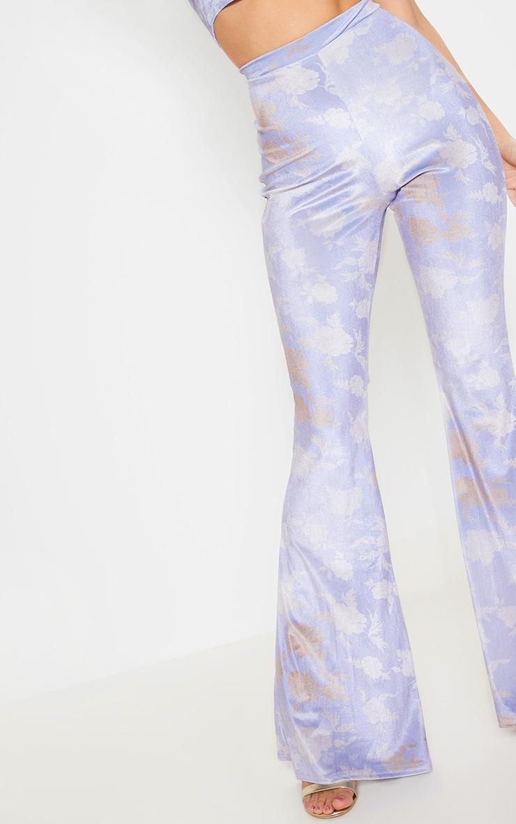 Lilac Floral Velvet Flared Pants 5