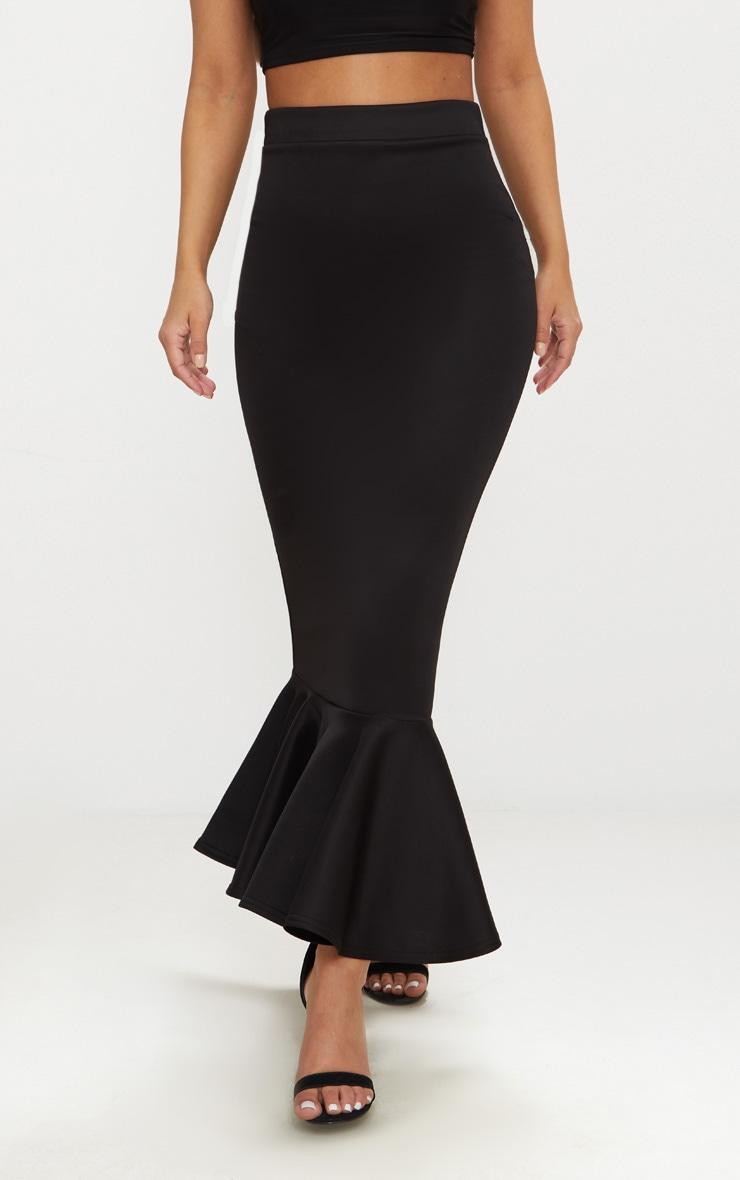 Petite Black Frill Hem Midi Skirt 2