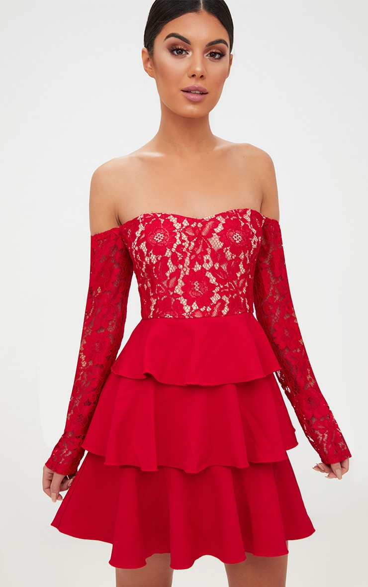 Red Lace Top Frill Detail Skater Dress  1