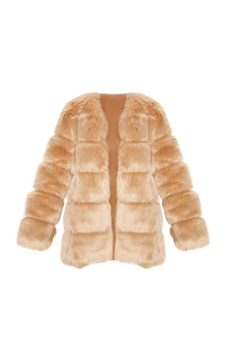 Stone Faux Fur Bubble Coat 3