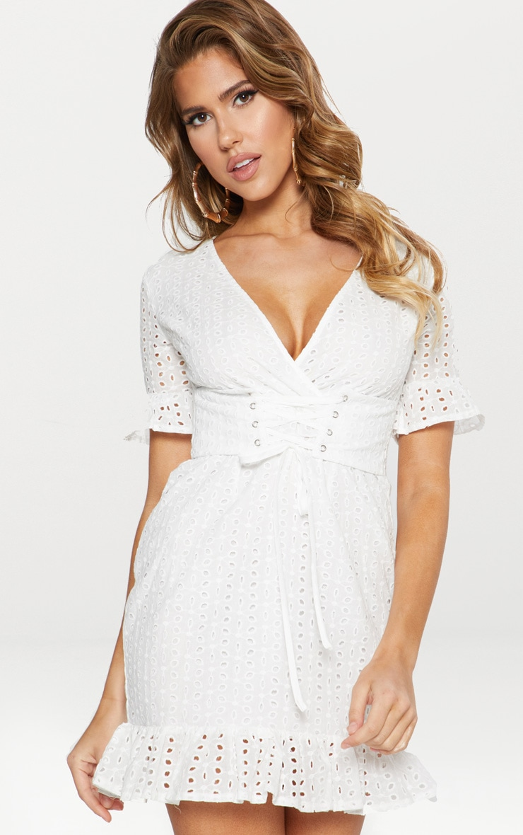 White Broderie Anglaise Corset Swing Dress 1
