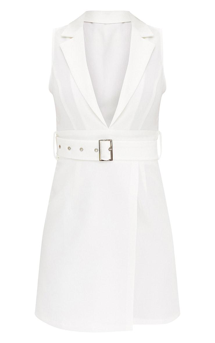 White Sleeveless Tie Waist Blazer Dress 3