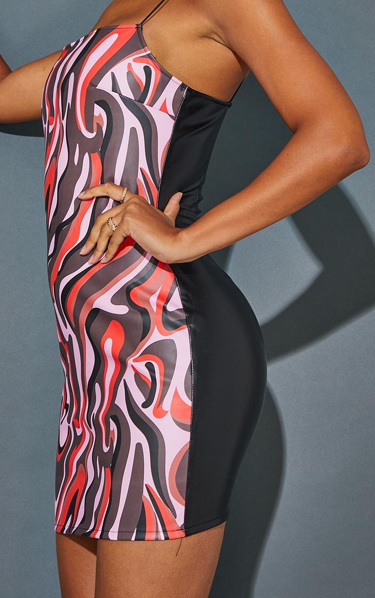 Pink Abstract Print Pu Spaghetti Strap Bodycon Dress 4