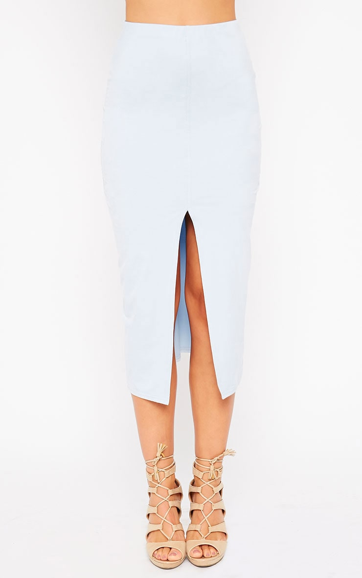 Riley Powder Blue Suede Midi Skirt 2
