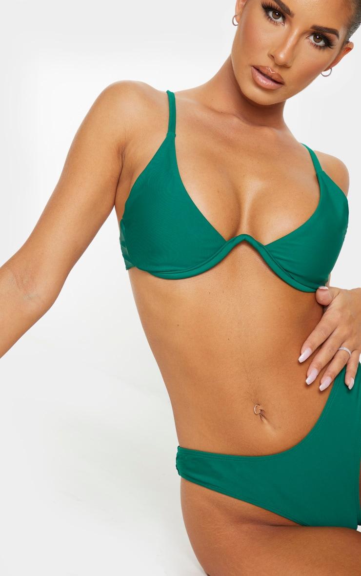 Emerald Green Underwired Plunge Bikini Top 5