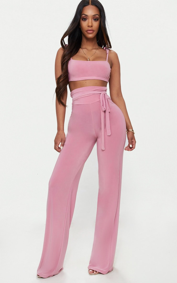 Shape Rose Slinky Extreme High Waist Detail Wide Leg Trousers 1