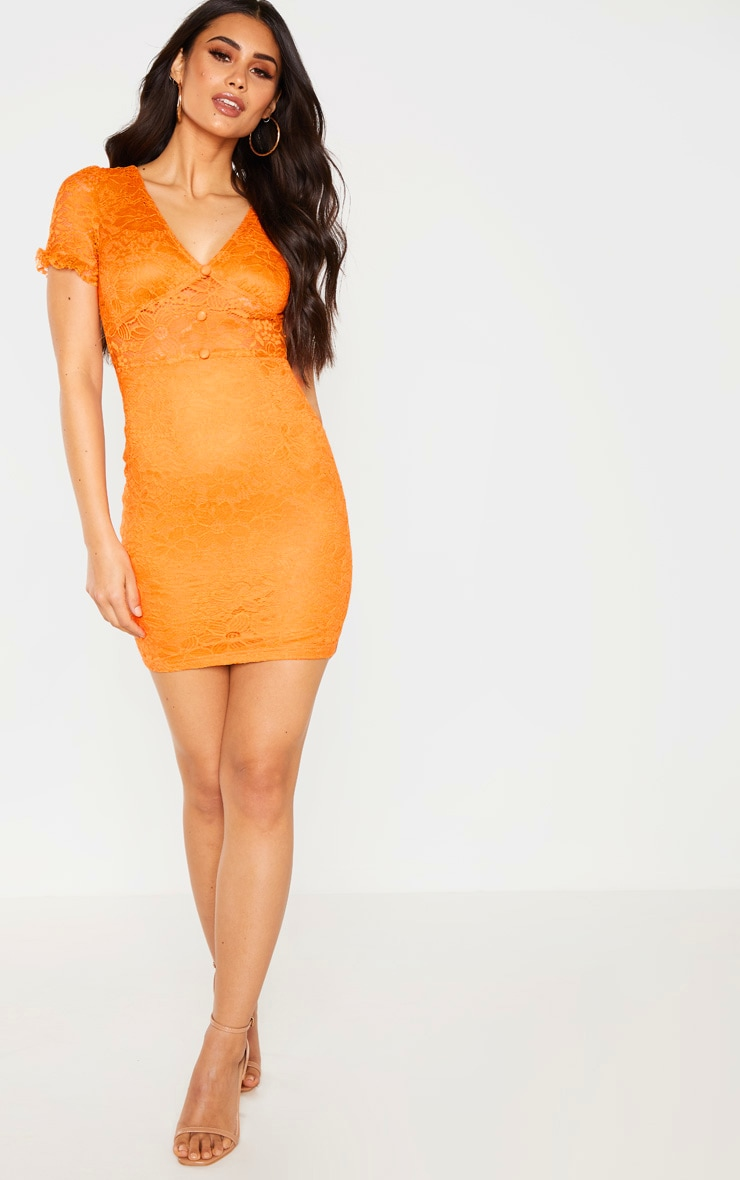Orange Lace Cap Sleeve Bodycon Dress 2