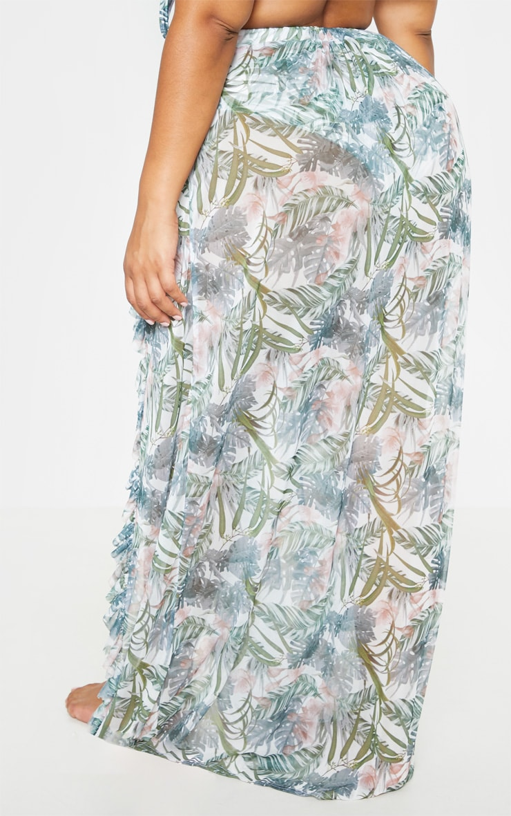 Plus Pale Khaki Leafy Frill Split Maxi Skirt  4