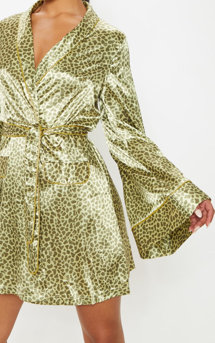 Yellow Animal Print Kimono Dress 5