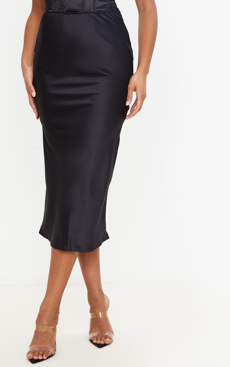 Black Satin Midi Skirt 2
