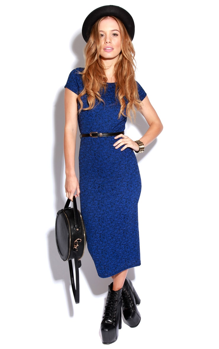 Paige Blue Flock Pattern Midi Dress 2