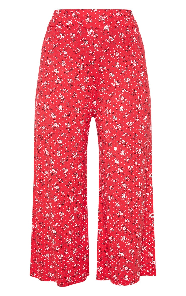 Red Ditsy Floral Printed Basic Culotte 3
