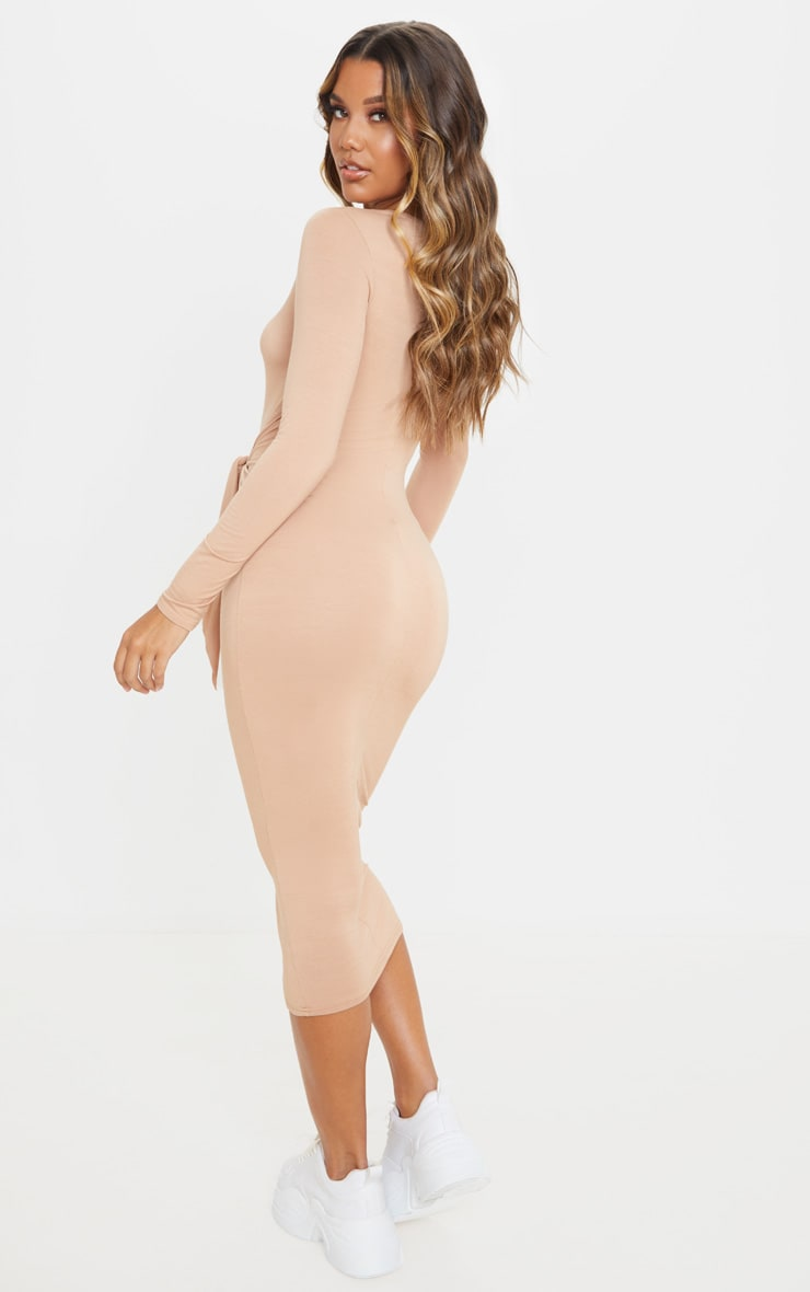 Camel Tie Waist Long Sleeve Midi Dress 2