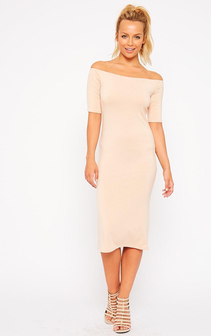 Roxie Nude Bardot Midi Dress 3