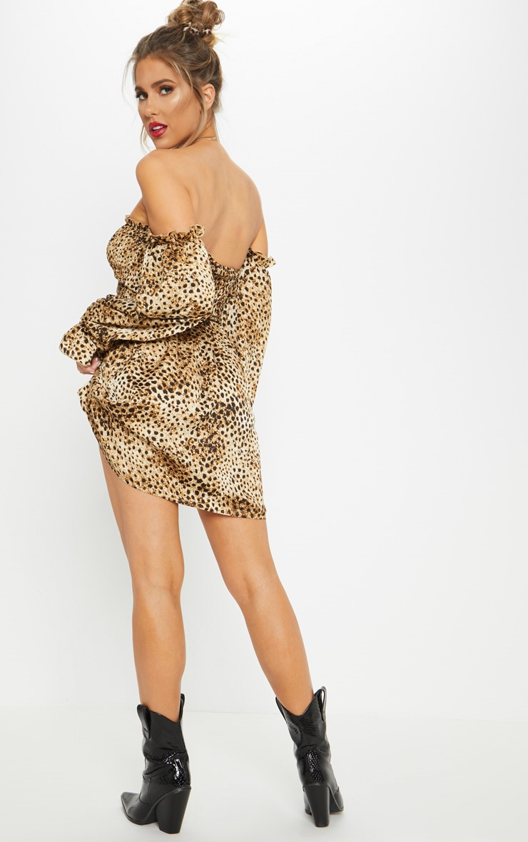Brown Shirred Leopard Print Smock Dress 2