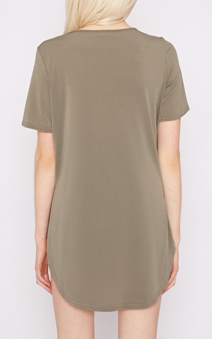 Dora Khaki Dipped Hem Top 2