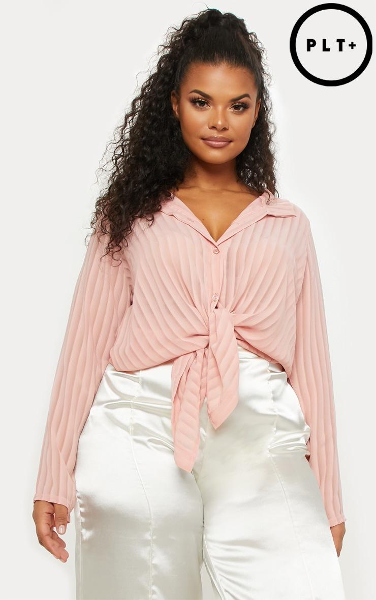 Plus Dusty Pink Striped Chiffon Oversized Shirt by Prettylittlething
