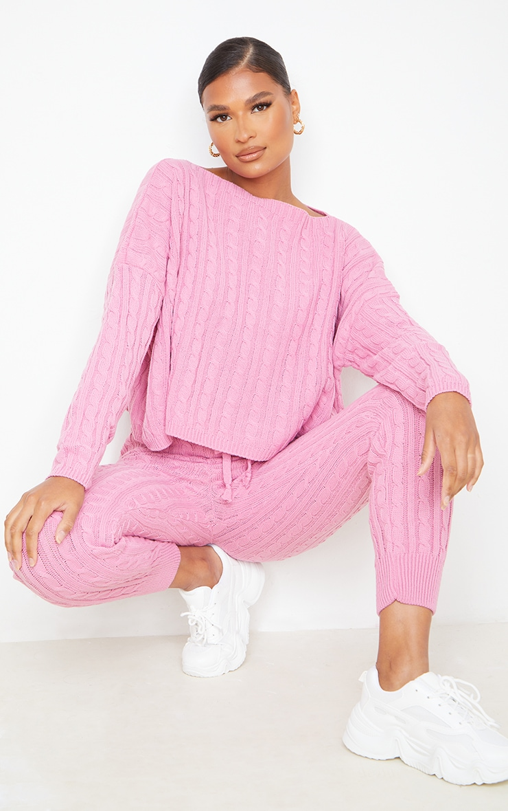Dusty Pink Cable Knit Sweater & Legging Set 1