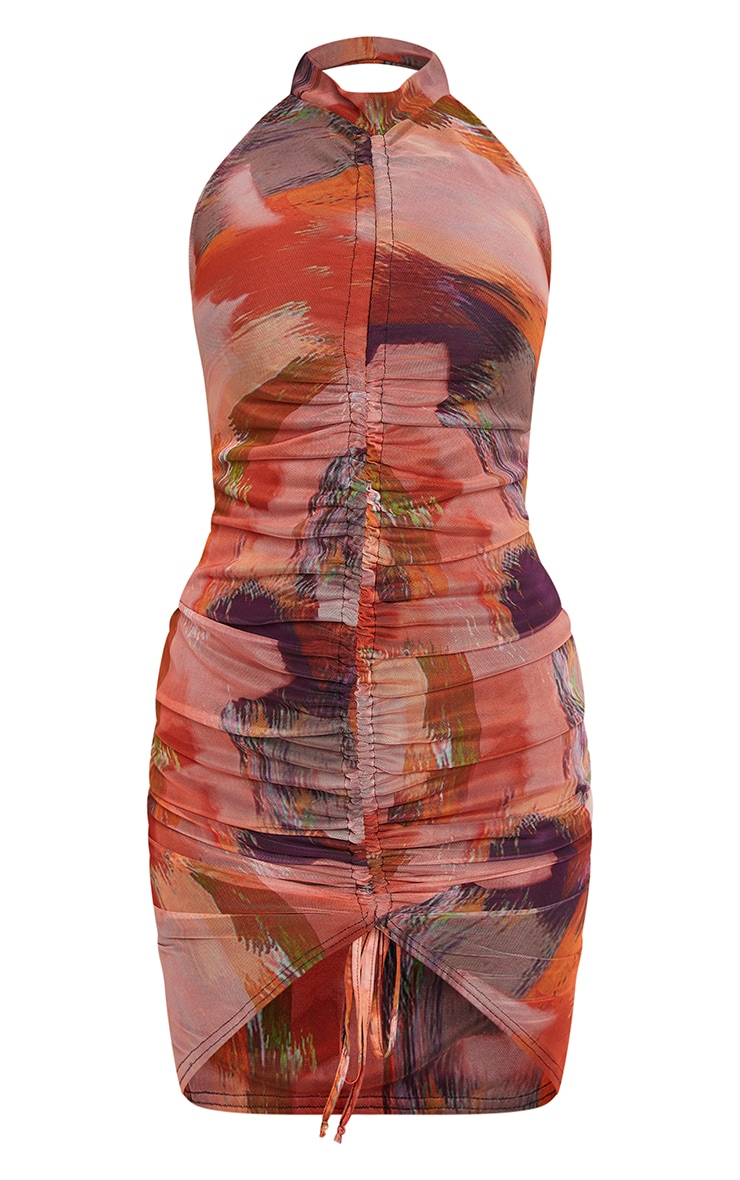 Pink Abstract Mesh Halterneck Ruched Bodycon Dress 5