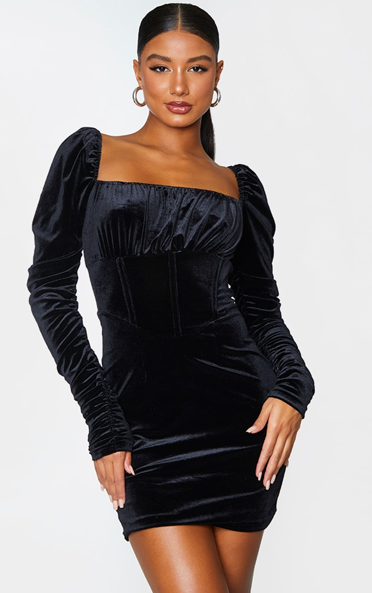 Black Velvet Ruched Sleeve Corset Detail Bodycon Dress 1