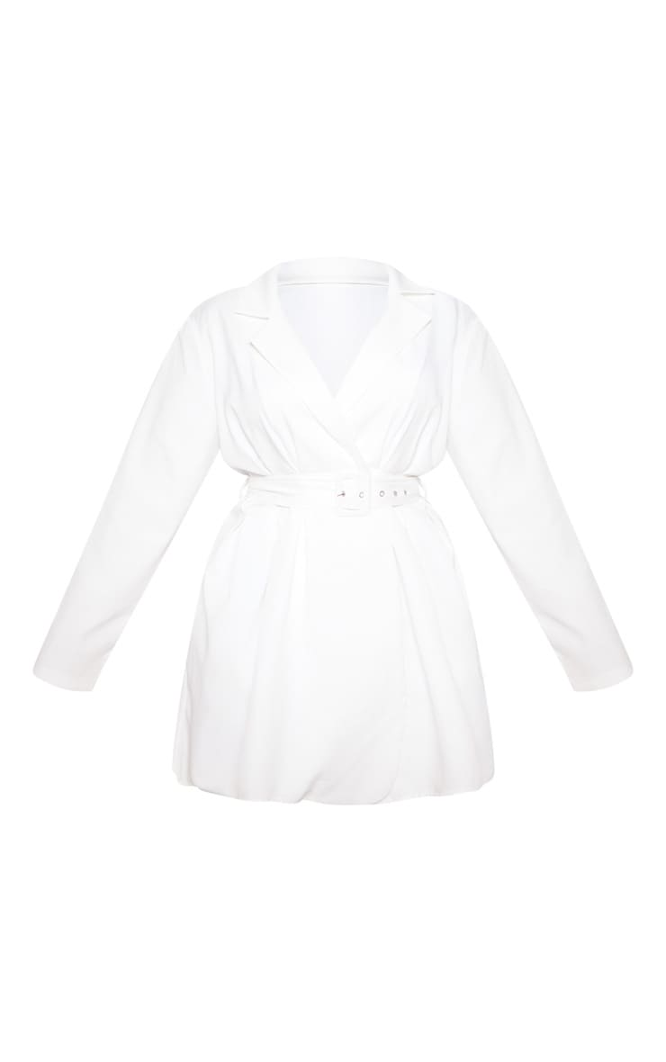 White Belt Detail Blazer Dress 4