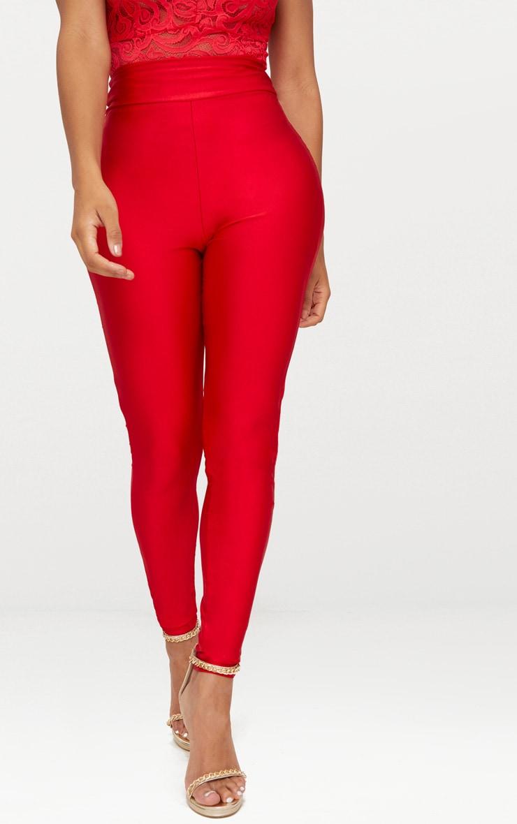 Shape Red Slinky Disco High Waisted Leggings 2
