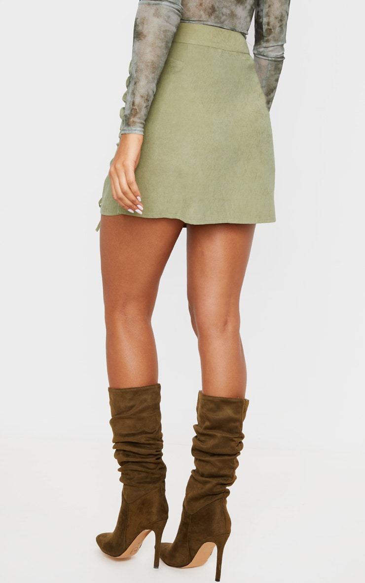 Khaki Faux Suede Double Ruched Detail Mini Skirt 4