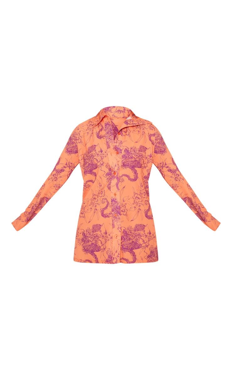 Orange Floral Print Beach Shirt 3