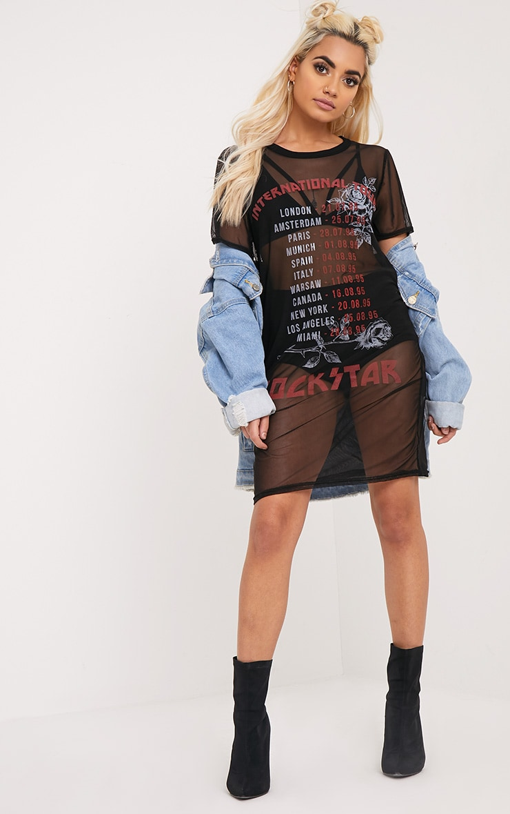 Rockstar Black Mesh T Shirt Dress 3