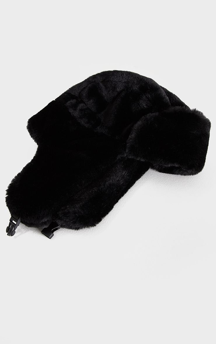Black Faux Fur Trapper Hat 2
