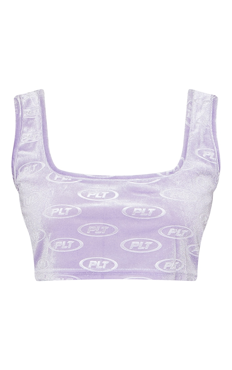 PRETTYLITTLETHING Lilac Circle Logo Embossed Velour Crop Top 5