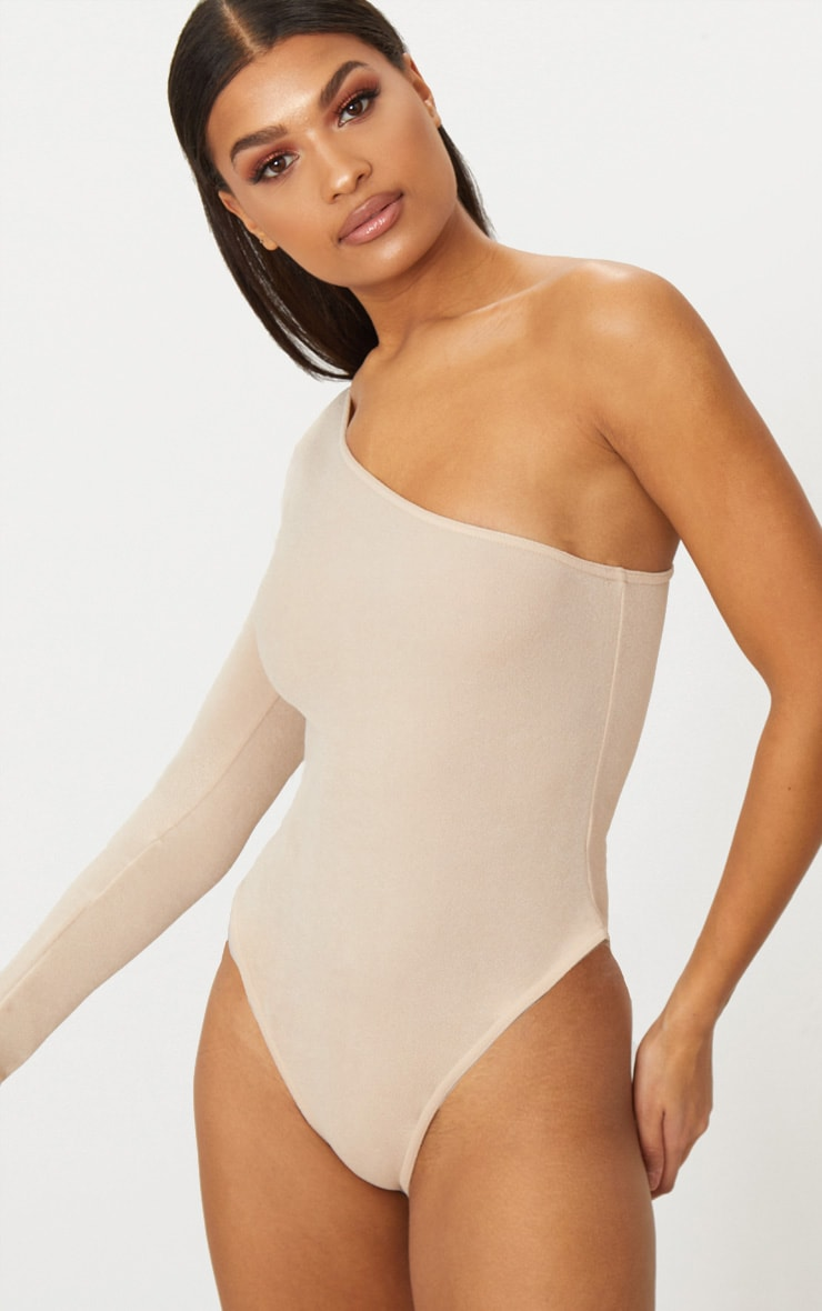 Stone Stretch Crepe One Shoulder Thong Bodysuit 3