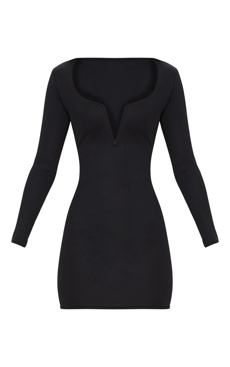Black Long Sleeve V Bar Plunge Bodycon Dress 3