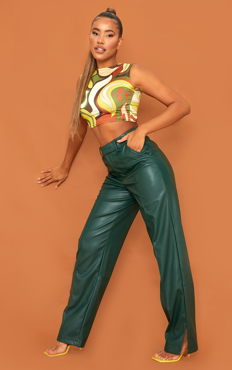 Olive Abstract Print Slinky Crop Top 3